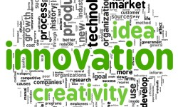 Innovation and creativity concept related words in tag cloud